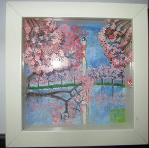 Detail Image for art DC Cherry Blossoms 3D Painted Glass in Box