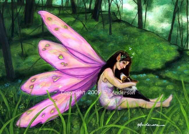 Art: Fairy & Corgi by Artist Evie M. Anderson
