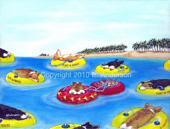 Art: Flaming Float-n-Snooze by Artist paintedbyevie