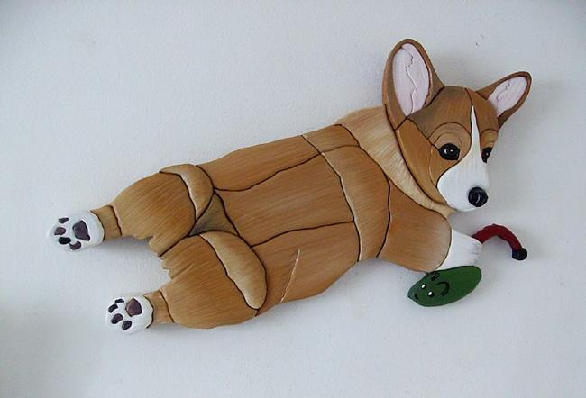 Art: Corgi Dog and his mouse..Original Painted Intarsia Art by Artist Gina Stern