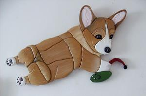 Detail Image for art Corgi Dog and his mouse..Original Painted Intarsia Art