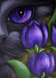 Art: BLACK CAT - TULIP FLOWERS 2 by Artist Cyra R. Cancel