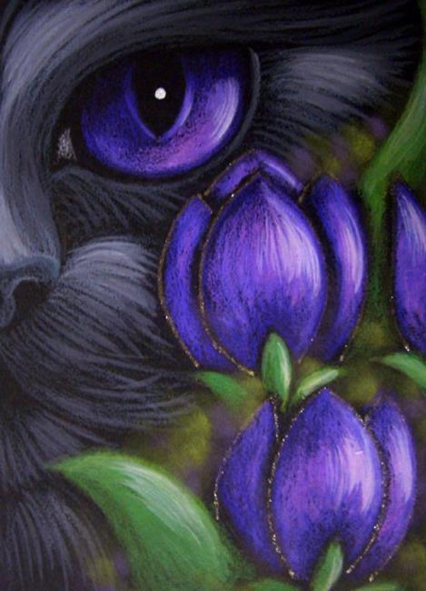 Art: BLACK CAT - TULIP FLOWERS 2 by Artist Cyra R. Cancel