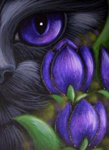 Detail Image for art BLACK CAT - TULIP FLOWERS 2