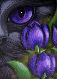 Detail Image for art BLACK CAT - TULIP FLOWERS 2