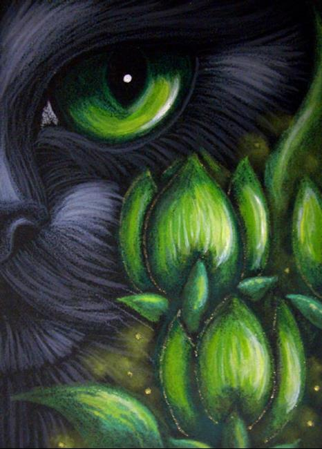 Art: *BLACK CAT - TULIP FLOWERS 4 by Artist Cyra R. Cancel