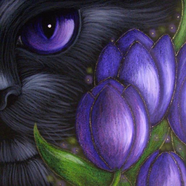 Art: BLACK CAT VIOLET TULIP FLOWERS by Artist Cyra R. Cancel