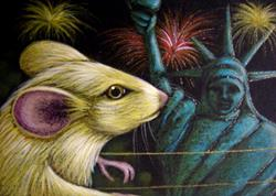 Art: MOUSE - JULY 4TH STATUE OF LIBERTY by Artist Cyra R. Cancel