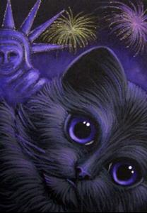 Detail Image for art BLACK CAT 4TH OF JULY STATUE OF LIBERTY