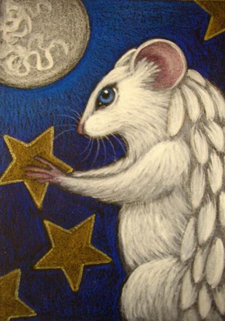 Art: WHITE ANGEL RAT MICE MOUSE 2 by Artist Cyra R. Cancel
