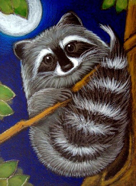 RACCOON AT NIGHT 2 - by Cyra R. Cancel from Gallery Raccoon Painting
