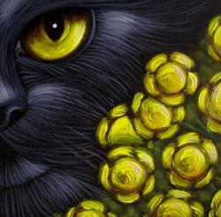 Art: BLACK CAT GOLDEN FENNEL FLOWERS by Artist Cyra R. Cancel