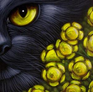 Detail Image for art BLACK CAT GOLDEN FENNEL FLOWERS