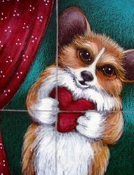 Art: WELSH CORGI DOG BE MY VALENTINE by Artist Cyra R. Cancel