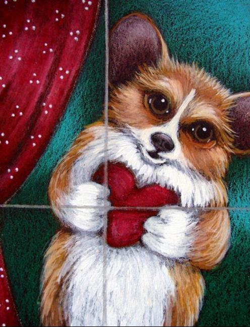 Art: WELSH CORGI DOG BE MY VALENTINE By Artist Cyra R. Cancel
