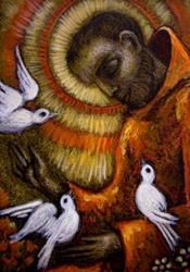 Art: **SAINT FRANCIS OF ASSISI & DOVES by Artist Cyra R. Cancel