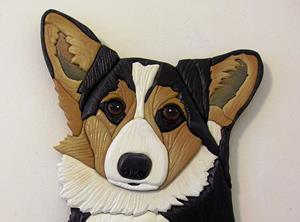 Detail Image for art Corgi Tri Dog Original Painted Intarsia Art
