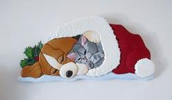 Art: Corgi Puppy and Kitten...Sleeping Beauties Original Intarsia Art by Artist Gina Stern