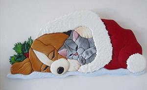 Detail Image for art Corgi Puppy and Kitten...