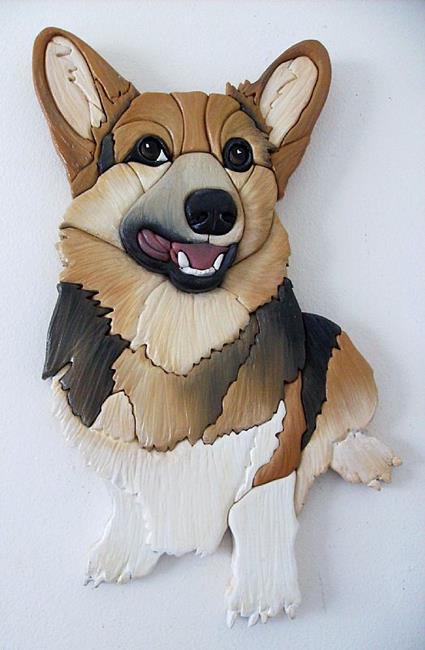 Art: Corgi....Smiler.... Original Painted Intarsia Art by Artist Gina Stern