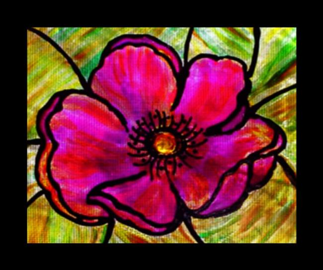 Hibiscus on glass by judith d porto from abstract for Painting on glass windows with acrylics