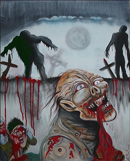 Art: Zombie Moon by Artist Laura Barbosa
