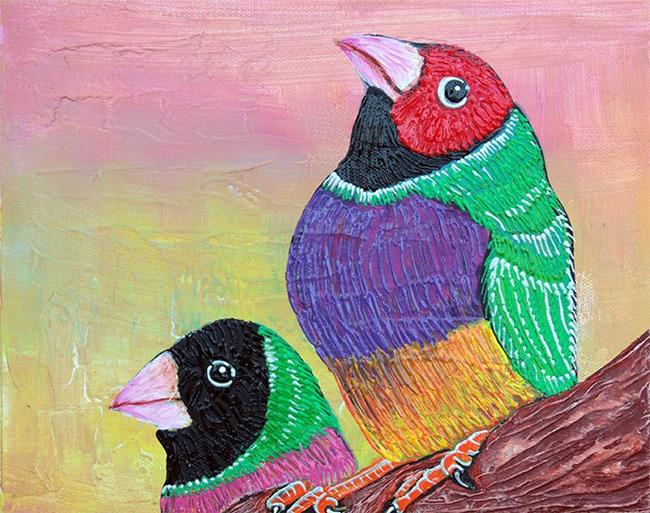 Art: Pretty Gouldian Finches by Artist Laura Barbosa