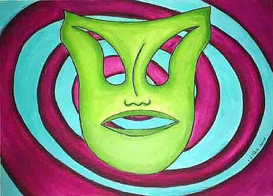 Art: MASK in LIME -Time Travel by Artist Victor McGhee