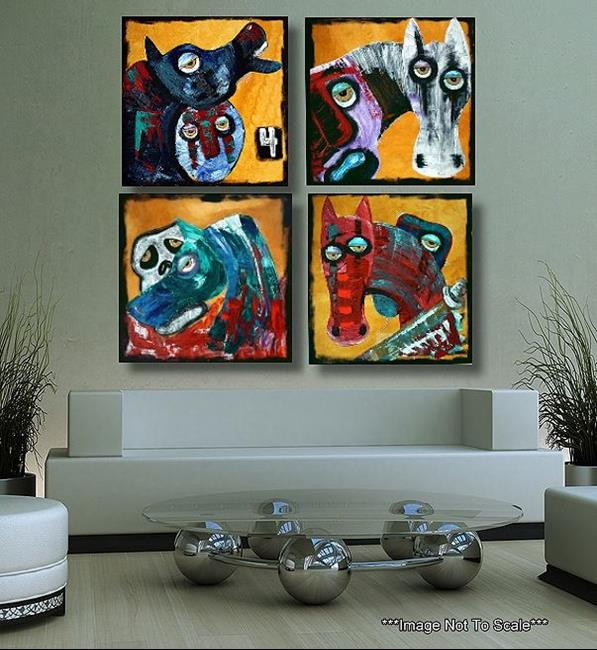 Art: 4 Horse Men by Artist Laura Barbosa