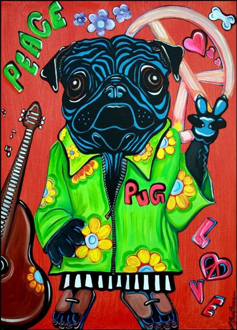 Art: Pugs Love Peace by Artist Laura Barbosa