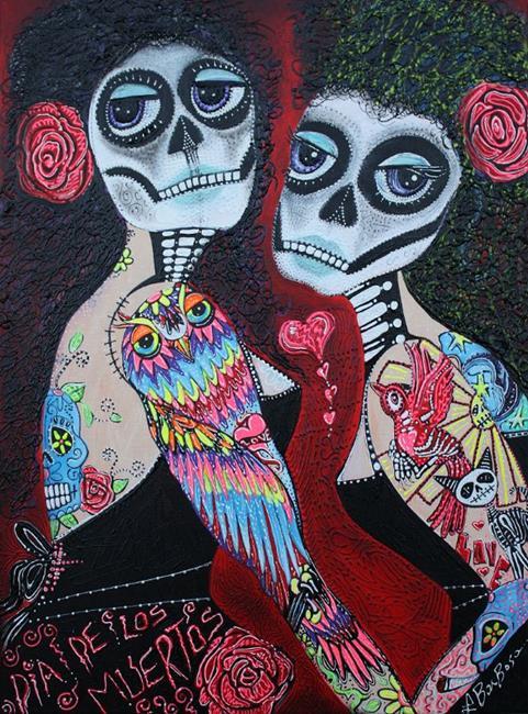 Art: Two Senoritas by Artist Laura Barbosa