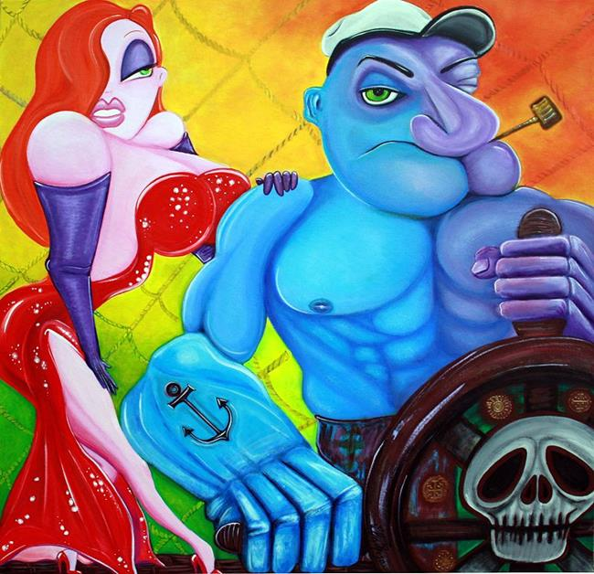 Art: Popeye and Jessica Rabbit by Artist Laura Barbosa