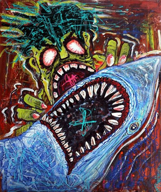 Art: Zombie Shark Fight by Artist Laura Barbosa