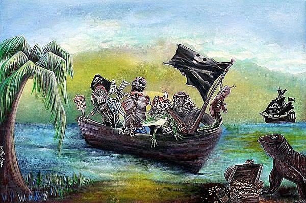 Art: Pirate Booty Beach by Artist Laura Barbosa