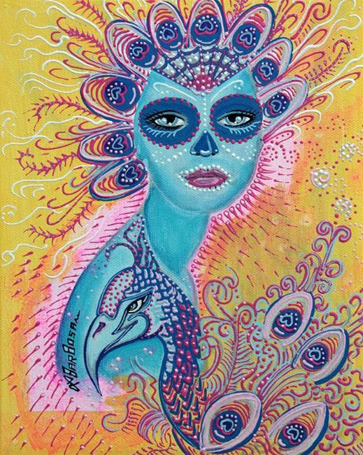 Art: Peacock Sugar Skull by Artist Laura Barbosa