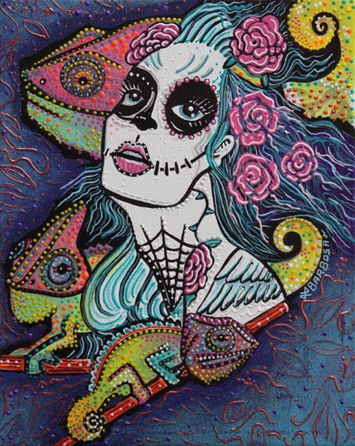 Art: Chameleon Sugar Skull by Artist Laura Barbosa