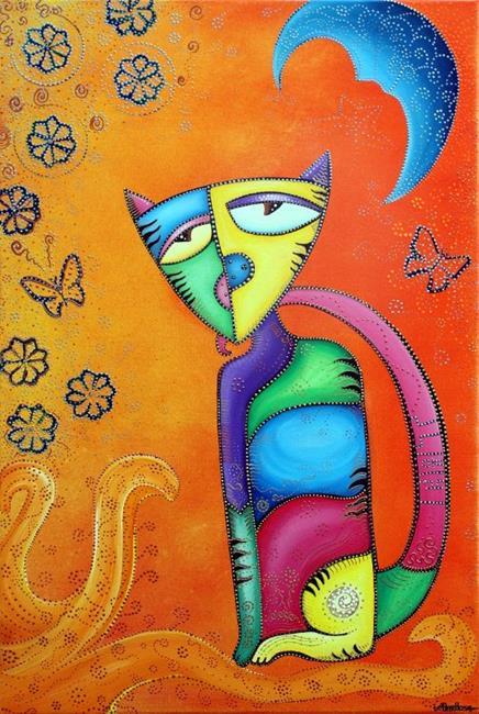 Art: Sunkist Celestial Cat by Artist Laura Barbosa