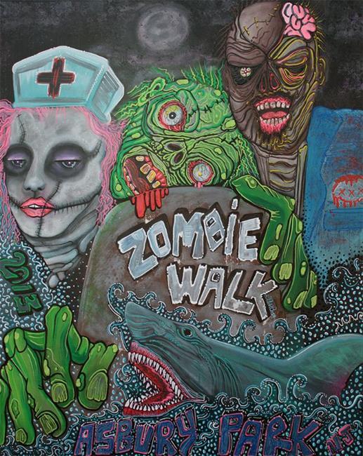 Art: Zombie Walk by Artist Laura Barbosa