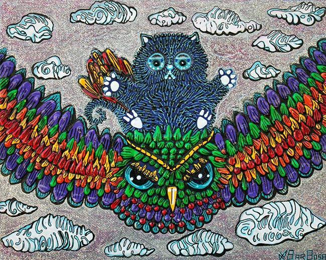 Art: Rainbow Owl Ride by Artist Laura Barbosa
