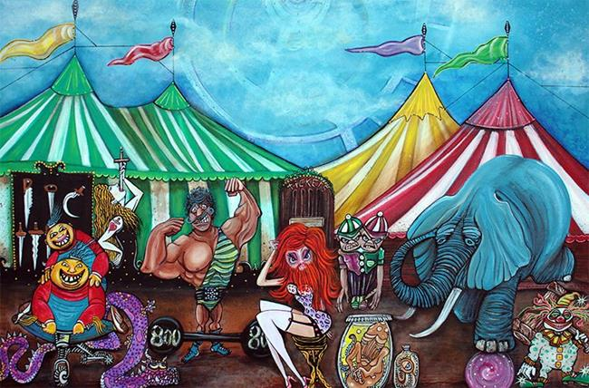 Art: Cirque De Freaks by Artist Laura Barbosa
