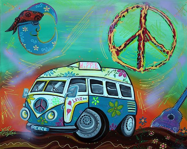 Art: Hippie Trip by Artist Laura Barbosa