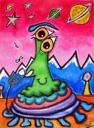 Art: Brian the Space Alien Bug Swats Flies by Artist Diane G. Casey