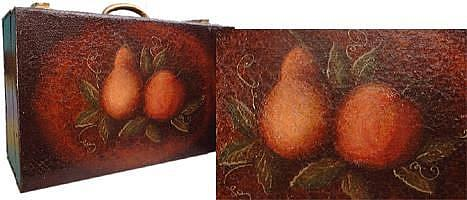 Art: Apple & Pear on Metal Case by Artist Jane Gould