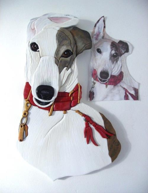 Art: FIRE.... GREYHOUND DOG CUSTOM INTARSIA PAINTED ART by Artist Gina Stern