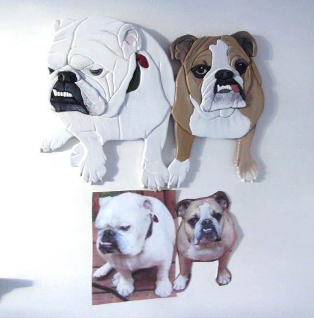 Art: HECTOR AND HYACINTHE.. Custom Painted Intarsia Art by Artist Gina Stern