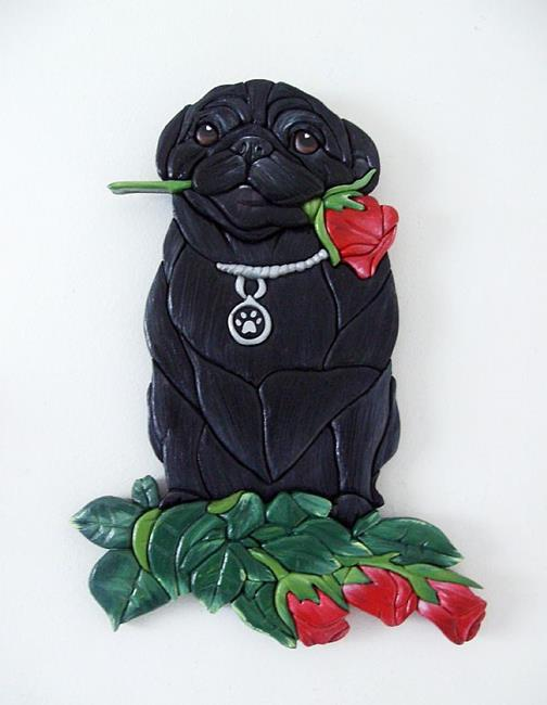 Art: PUG, AND ROSES.. I LOVE YOU... Original Painted Intarsia Art by Artist Gina Stern