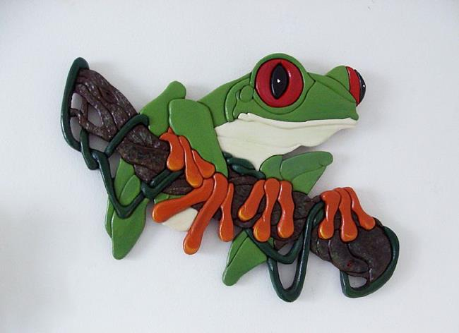 Art: Red Eyed Tree Frog..Painted Intarsia Art by Artist Gina Stern