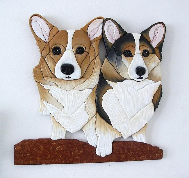 Art: 'FRIENDS FOREVER' Corgi Original Painted Intarsia Art by Artist Gina Stern