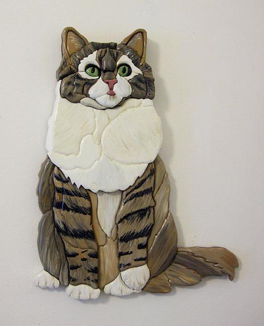 Art: Tabby Cat, Painted Intarsia Art by Artist Gina Stern