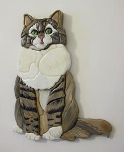 Detail Image for art Tabby Cat, Painted Intarsia Art